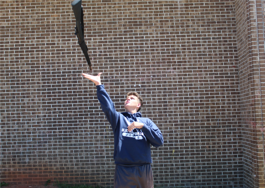 Logan Baker, pictured above, practices for the competitive drill season.