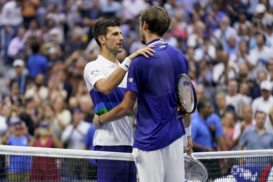 Novak Djokovic congratulates Daniil Medvedev on his win at US Open
